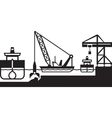 Dredger ship deepens port vector image vector image