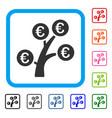 euro money tree framed icon vector image vector image