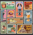 fast food burgers hot dogs desserts retro menu vector image vector image