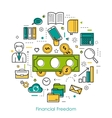 Financial Freedom - Round Line Concept vector image vector image