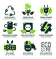 flat icon set for green eco electricity vector image vector image