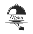 Food serving tray Silver tray in hand waiter Menu vector image