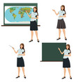 girl teacher shows vector image