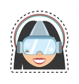 girl virtual reality glasses technology design cut vector image