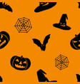 halloween orange background with black witch hat vector image vector image