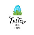 happy easter lettering card with egg children vector image vector image