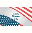 happy veterans day usa flag celebration gray vector image vector image