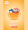 hello summer card banner with orange background vector image vector image