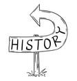 history arrow sign bent backward showing wrong