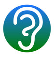 human ear sign white icon in bluish vector image vector image