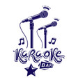 karaoke bar lettering composed with stage vector image