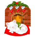 Kitten near Fireplace vector image vector image