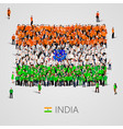 large group of people in the india flag shape vector image vector image