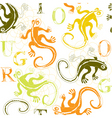 lizard and alphabets vector image
