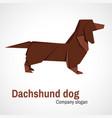 origami logo dachshund dog vector image vector image