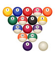 pool billiard balls in starting position vector image vector image
