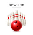 realistic bowling ball and skittle pins vector image vector image