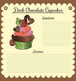 recipe dark chocolate cupcake vector image