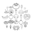 restaurateur icons set outline style vector image vector image