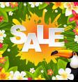 sale banner with frangipani vector image