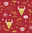 seamless pattern chinese happy new year vector image