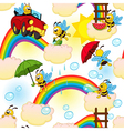 seamless pattern with bee on rainbow vector image vector image
