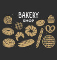 set bakery engraved elements typography design vector image