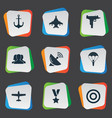 set simple army icons vector image