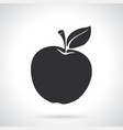 silhouette apple with stem and leaf
