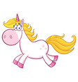 smiling magic unicorn character running vector image vector image