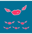 symbols set flying kiss vector image vector image