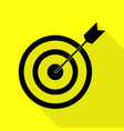 target with dart black icon with flat style vector image vector image