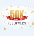 thank you 50000 followers design template social vector image vector image