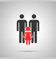 two dads with child silhouette simple black icon vector image vector image