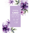 violet flowers watercolor card purple vector image vector image