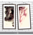 Two Frames Of Picture On A Striped Old Wall vector image
