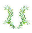 watercolor laurel wreath isolated on white vector image