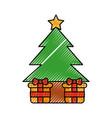 christmas tree gift boxes ball star decoration vector image