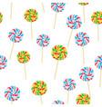 caramel striped candies on sticks seamless pattern vector image