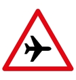 Airplane Warning Flat Icon vector image vector image
