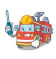 automotive fire truck mascot cartoon vector image vector image