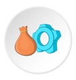 Bag and gear icon cartoon style vector image vector image