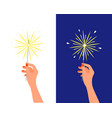 bengal light fire sparkler in female hand vector image