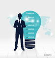 Businessman showing light bulb with Infographic vector image vector image