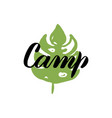 camp leaf calligraphy vector image