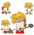 Cartoon character village boy in various poses vector image vector image