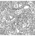 cartoon cute doodles hand drawn halloween seamless vector image vector image