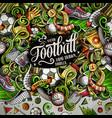 cartoon doodles soccer frame vector image vector image