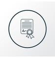 certificate icon line symbol premium quality vector image