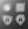 Closed lock Glass buttons vector image